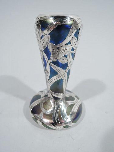 Alvin Austrian Art Nouveau Iridescent Silver Overlay Bud Vase