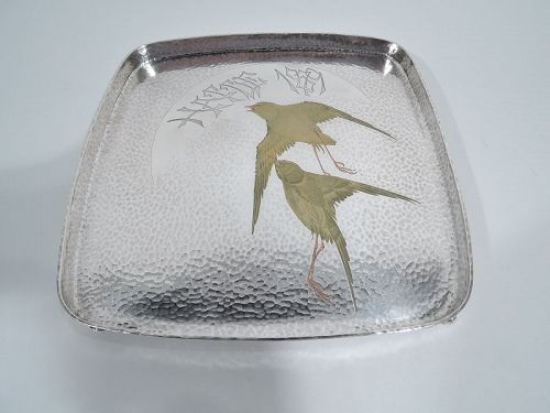 Rare Tiffany Japonesque Mixed Metal Tray with Gold Birds C 1878