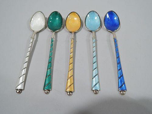 Set of 5 Danish Modern Gilt Sterling Silver & Enamel Demitasse Spoons
