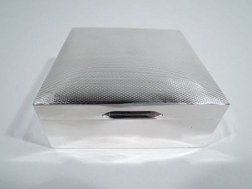 English Art Deco Modern Sterling Silver Trinket Box 1956