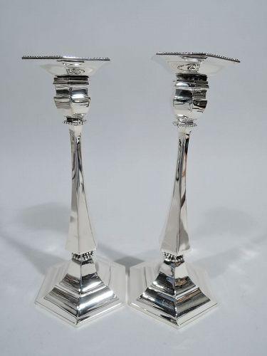 Pair of Tiffany Modern Geometric Sterling Silver Candlesticks