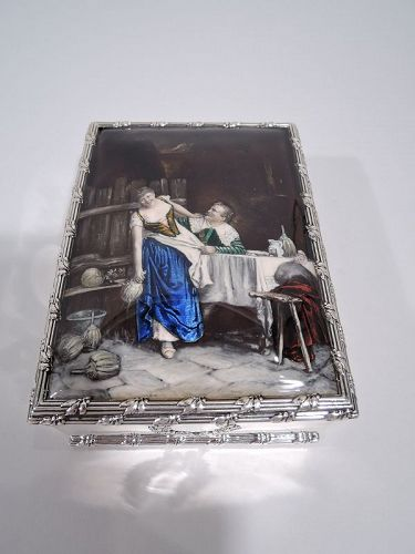 Ye Olden Days Enamel Box with Merry Wench and Groping Toper