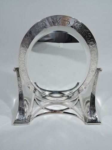 American Art Nouveau Sterling Silver Vanity Table Mirror