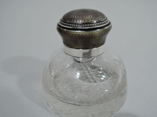 Antique French Art Nouveau Silver & Enamel Inkwell