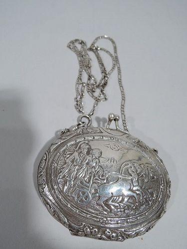 Antique German Classical Silver Coin Purse C 1910