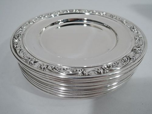 Set of 12 Gorham Rose Scroll Sterling Silver Bread & Butter Plates