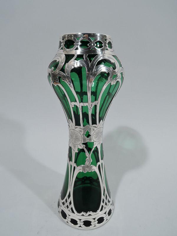 Alvin Art Nouveau Green Silver Overlay Sunflower Vase