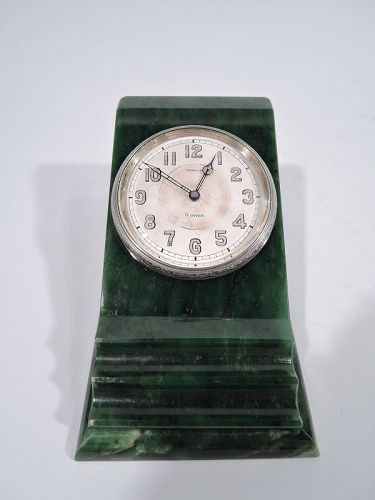 Antique Tiffany Art Deco Green Marble Desk Clock