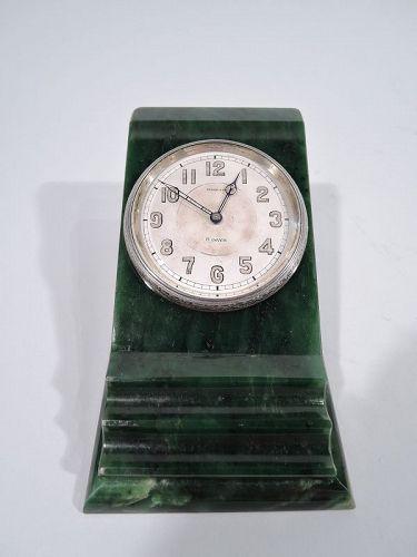 Antique Tiffany Art Deco Green Marble Desk Clock