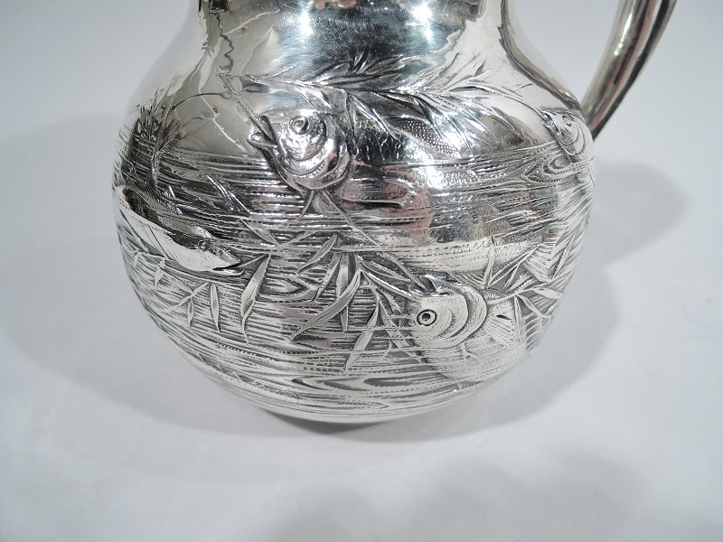 Antique Gorham Japonesque Fishbowl Water Pitcher 1883
