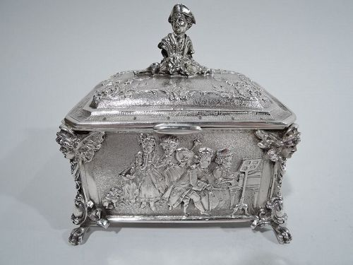 Antique German Rococo Silver Trinket Box
