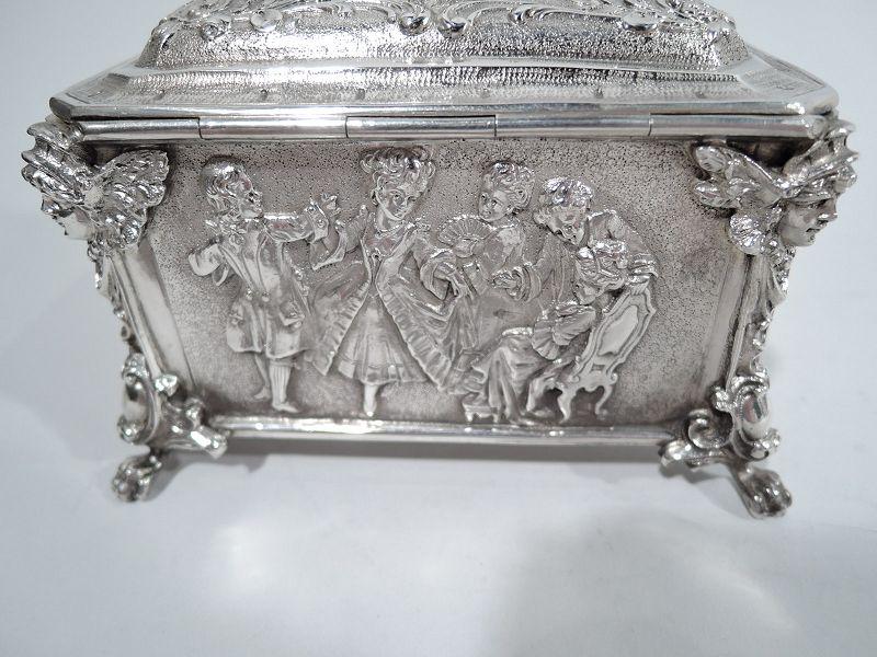 Antique German Rococo Silver Trinket Box