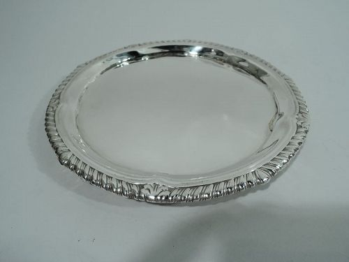 Antique English Georgian Neoclassical Sterling Silver Salver Tray 1824