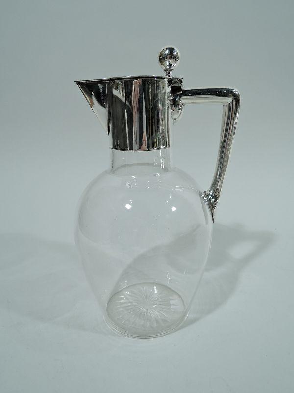 German Modern Silver & Glass Decanter