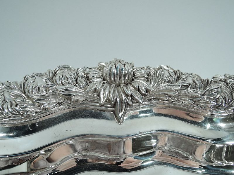 Rare Tiffany Chrysanthemum Sterling Silver Well & Tree Meat Platter