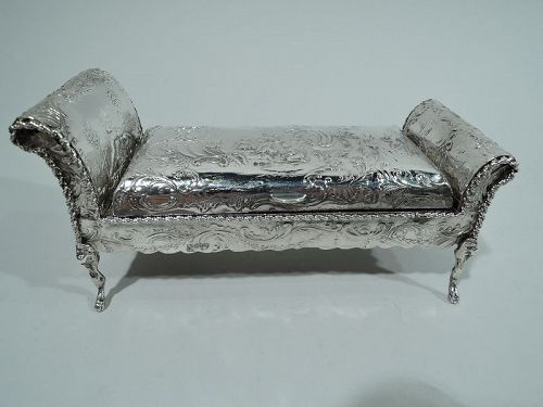 Antique German Silver Figural Rococo Settee Inkwell
