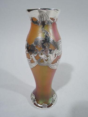 Antique Loetz Art Nouveau Rainbow Silver Overlay Vase