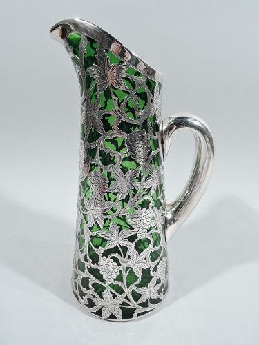 Alvin Art Nouveau Green Claret Jug with Grapevine Silver Overlay