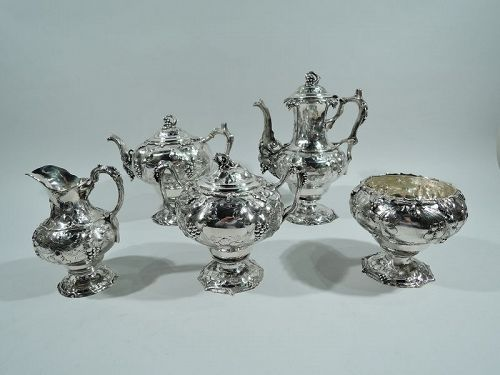 Early Tiffany Sterling Silver 5-Piece Grapevine Coffee & Tea Set 1850s