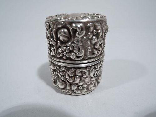 Antique Unger Repousse Sterling Silver Pillbox
