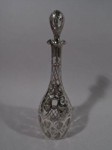 Antique Alvin Art Nouveau Silver Overlay Decanter