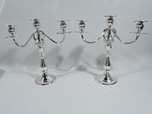 Pair of American Georgian Sterling Silver 3-Light Candelabra