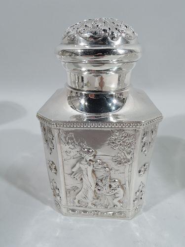 Antique German Classical Silver Tea Caddy C 1910