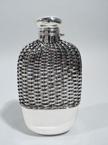 Antique Gorham American Edwardian Woven Sterling Silver Flask