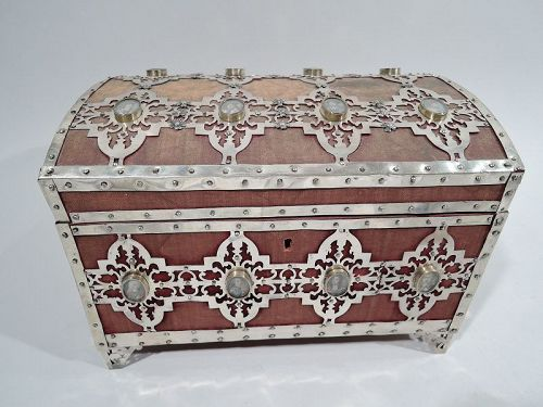 Antiquarian Heirloom Casket with Miniature Watercolor Portraits