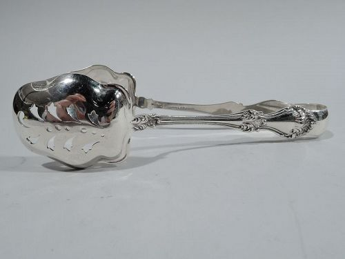 Antique Roger Williams Corinthian Sterling Silver Ice Tongs