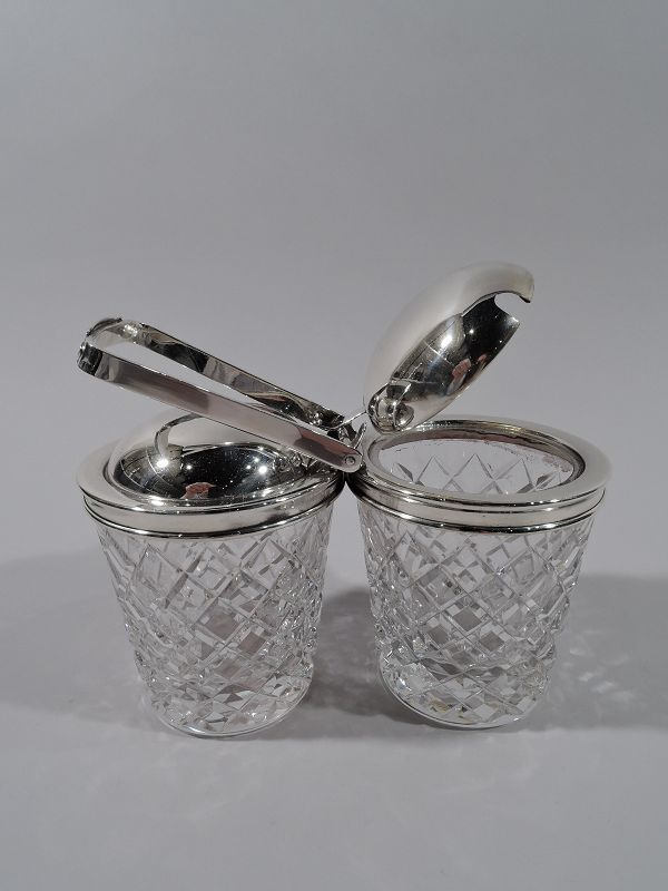 Old Fashioned Hawkes Sterling Silver & Glass Double Jam Jar