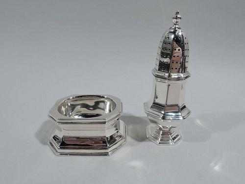 Pair of Cartier Modern Georgian Sterling Silver Salt & Pepper