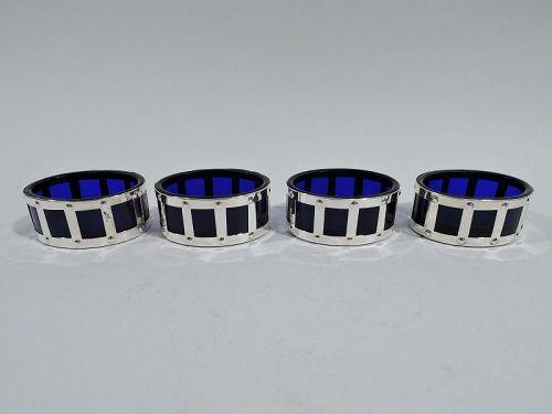 Set of 4 American Art Deco Sterling Silver & Cobalt Glass Open Salts