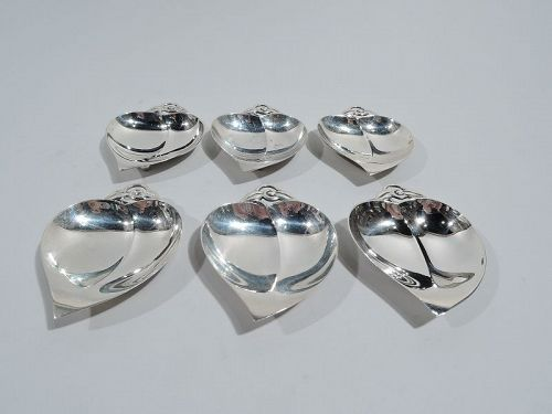 Set of 6 Tiffany Midcentury Modern Sterling Silver Nut Dishes