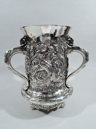 Magnificent Tiffany Gilded Age Wine Cooler with Bewitching Nymphs