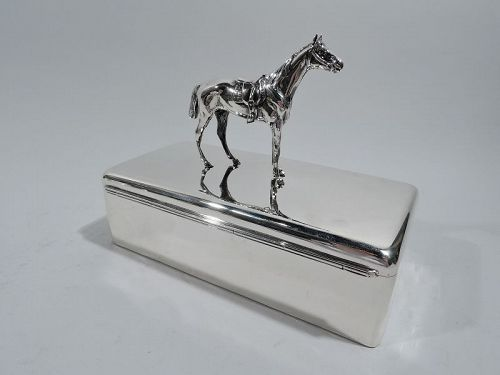 Gift-Quality Sterling Silver Box with Horse Figure Finial