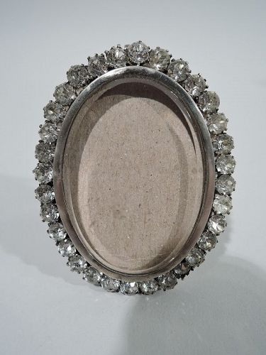 English Victorian Jeweled Sterling Silver Boudoir Picture Frame 1899