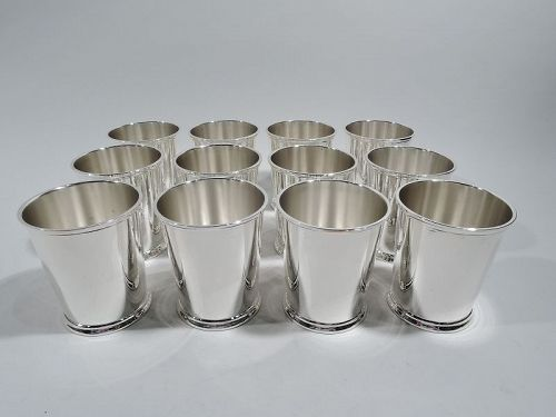 Set of 12 Sterling Silver Mint Julep Cups by Fisher