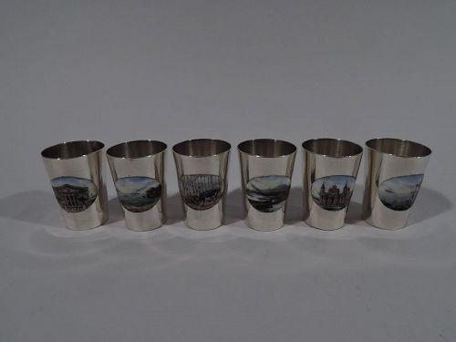 Set of 6 Antique German Silver & Enamel Grand Tour Shot Glasses