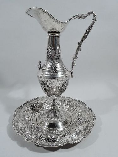 Traditional European Renaissance Silver Wine Ewer on Stand