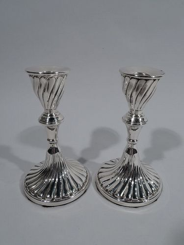 Pair of Striking South American Sterling Silver Candlesticks