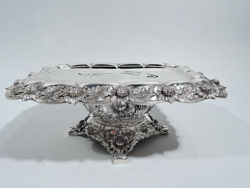 Tiffany Chrysanthemum Sterling Silver Compote in Rare Rectangular Form