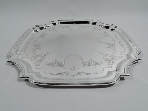 English Georgian-Style Sterling Silver Cartouche Tray 1957