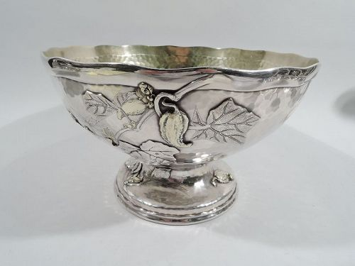 Tiffany Applied & Hand Hammered Sterling Silver Centerpiece Bowl