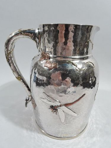 Market-Fresh Tiffany Japonesque Mixed Metal Dragon Fly Water Pitcher
