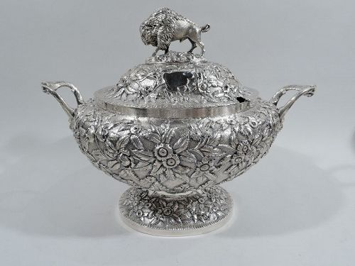 Antique American Coin Silver Tureen with Bison Buffalo Finial C 1850