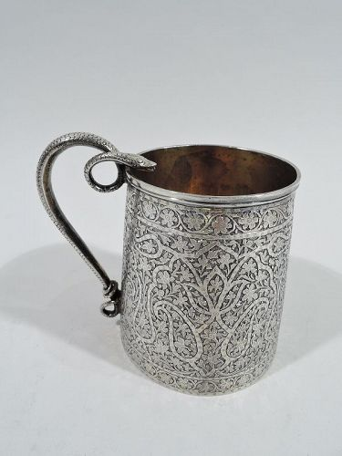 Striking Indian Colonial Raj-Era Silver Mug with Snake Handle 19 C
