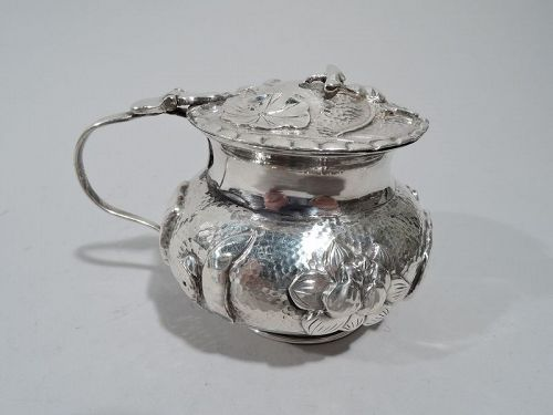 Antique Chinese Silver Water Lily Mustard Pot
