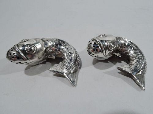 Pair of Antique Japonesque Silver Koi Fish Salt & Pepper Shakers