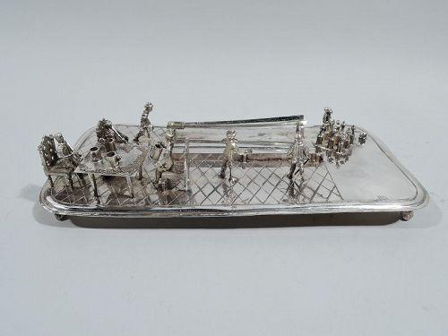 Antique Dutch Silver Tavern and Bowling Miniature
